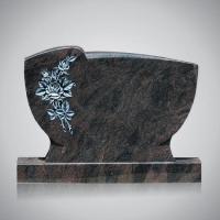 Bekapte grafsteen - art.nr. 7213 Himalaya met ornament R2 beide zijden gepolijst