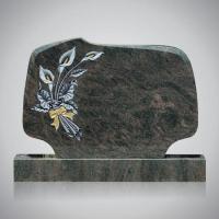 Bekapte grafsteen - art.nr. 7214 Himalaya met ornament R10 beide zijden gepolijst