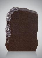 Bekapte grafsteen - art.nr. Gletscherschliff Impala met ornament H1A beide zijden gepolijst