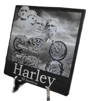 Lasergravure - art.nr.  5545 Harley Davidson in zwart marmer