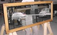 Lasergravure - art.nr. 5550  Auto's in spiegelglas