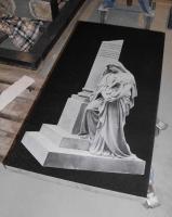 Lasergravure - art.nr. 5551 Afbeelding op zwart graniet 110cm x 57cm