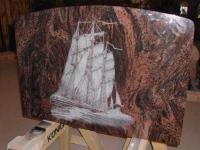 Lasergravure - art.nr.  5571 Schip in Aurora steen 100cm x 70cm