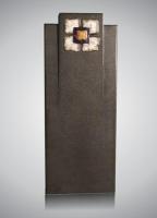 Zuil - art.nr. 7155 zwart alle zijden gevlamd en geborsteld voorzien van glazen ornament M2